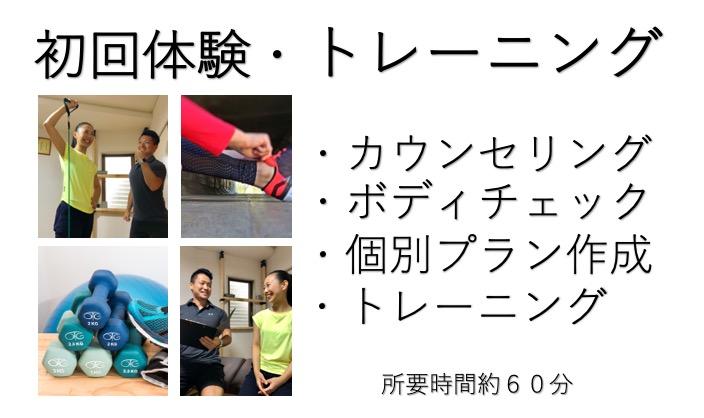 体験トレーニング案内図 ・カウンセリング ・ボディチェック ・個別プラン作成 ・トレーニング